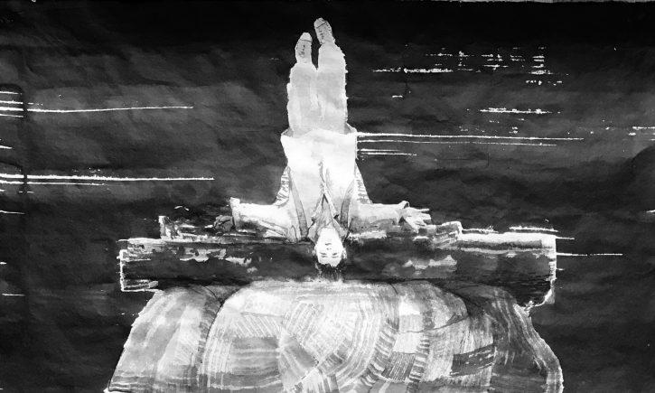 Adrian-Johnston_Upside-Down_Ink-on-Paper_Cross