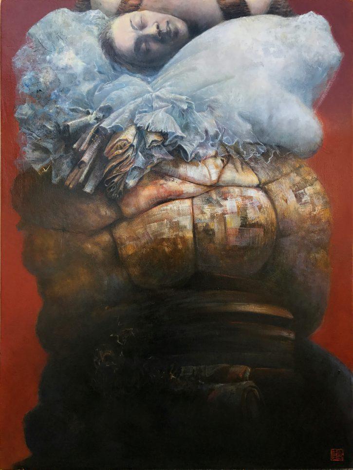 Adrian Johnston, Upside Down, Oil on Canvas