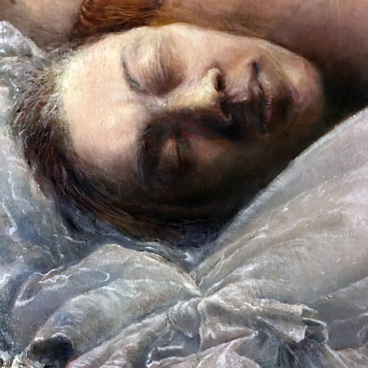 Adrian Johnston, Upside Down, Oil on Canvas, detail